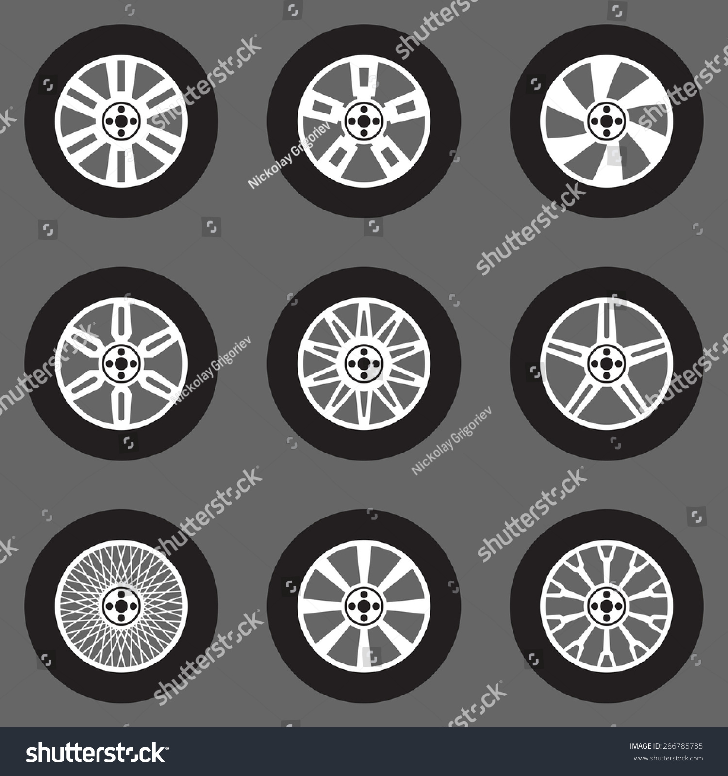 Royalty Free Vector Tires Icons Set Car Wheels 286785785 Stock