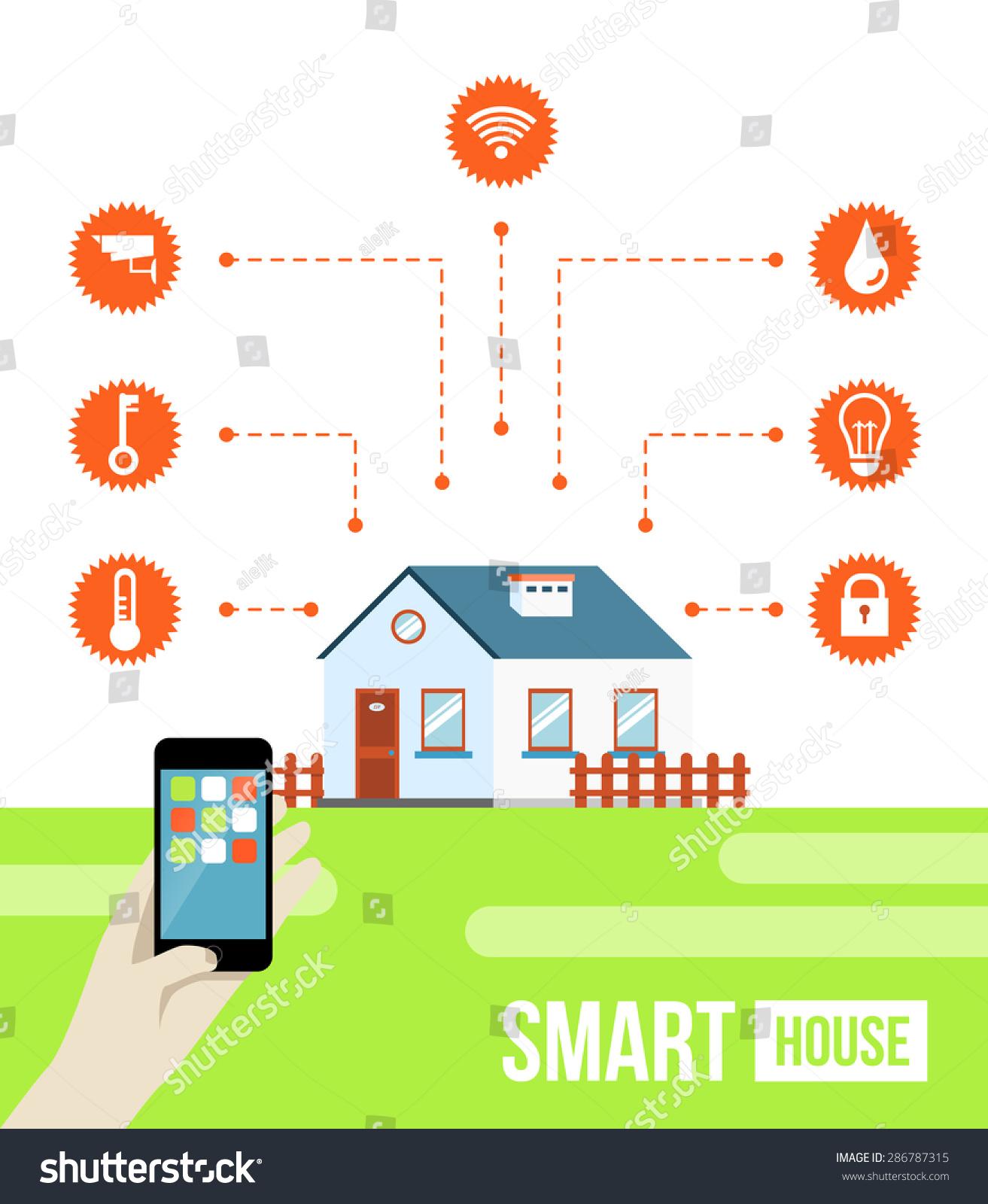 Smart Home Technologies: Vector Concept Smart House Smart Home Stock Vector