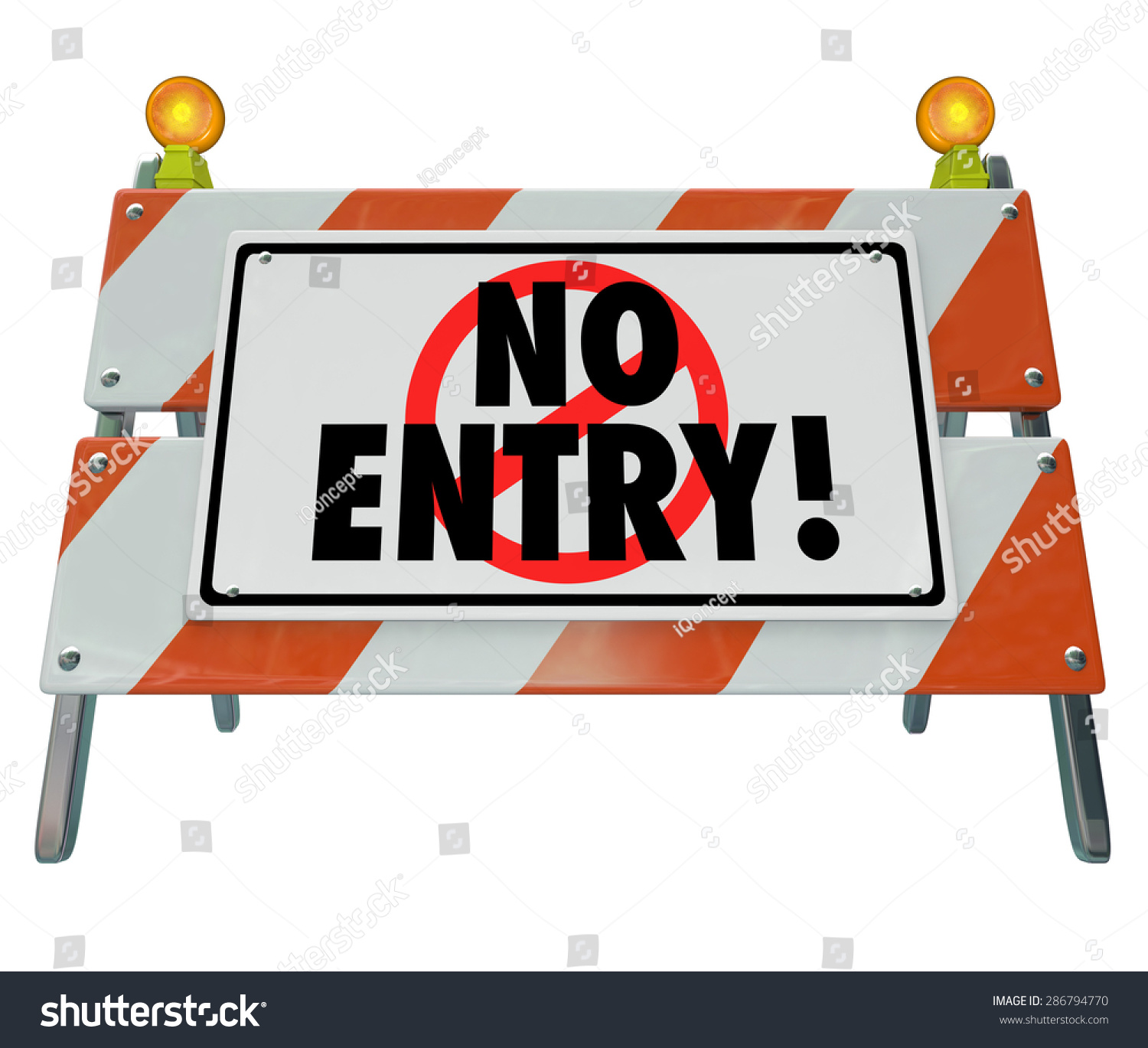 Road Barricade Signs Stock Photo No Entry Words On A Road