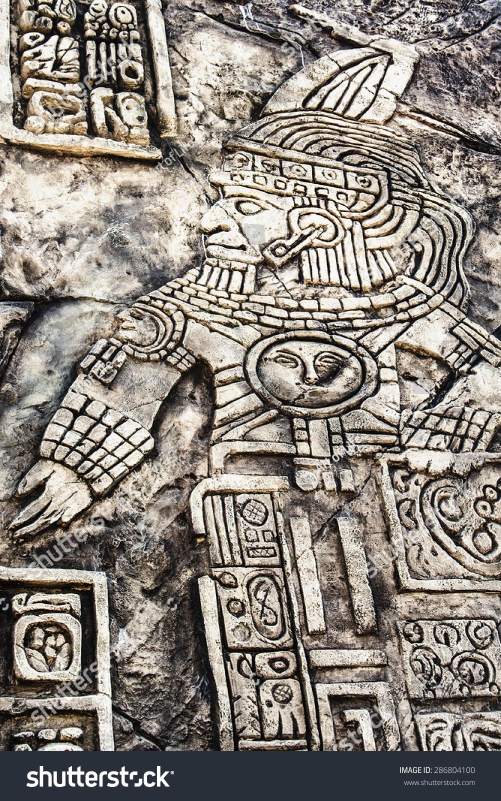 Ancient Mayan Hieroglyphics Stone Ruins Stock Photo 286804100