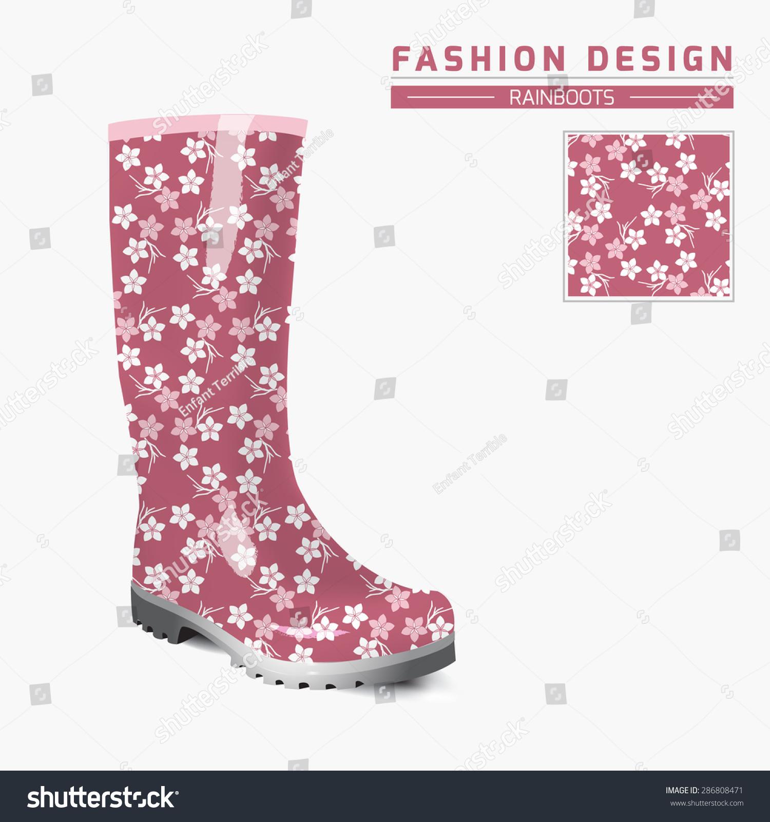 Rain Boots Template | Rain Boot Trendy Design Concept Fashion Stock Vector 286808471