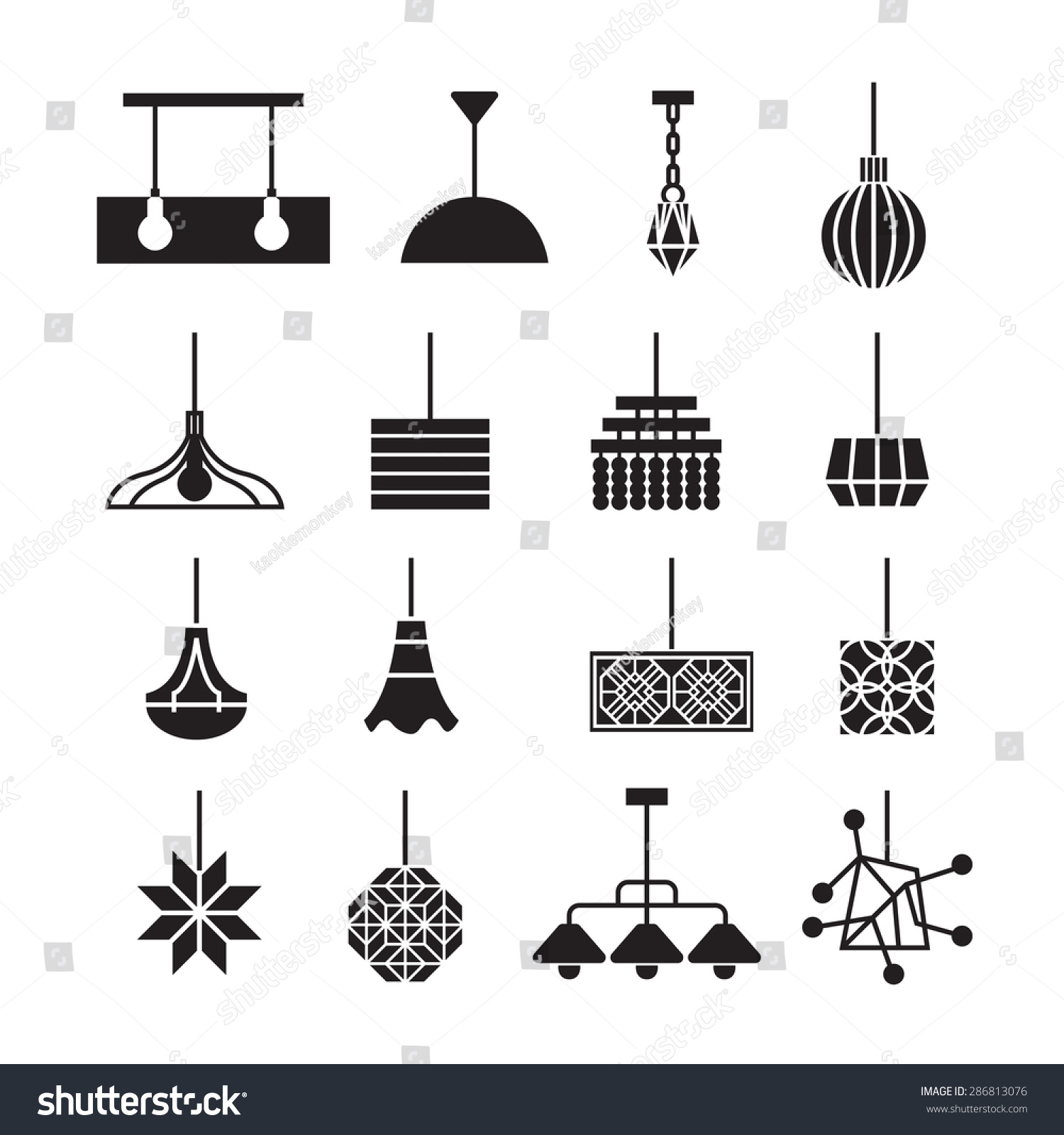 Hanging Lamp Vector Chandelier Vector Decorate Stock