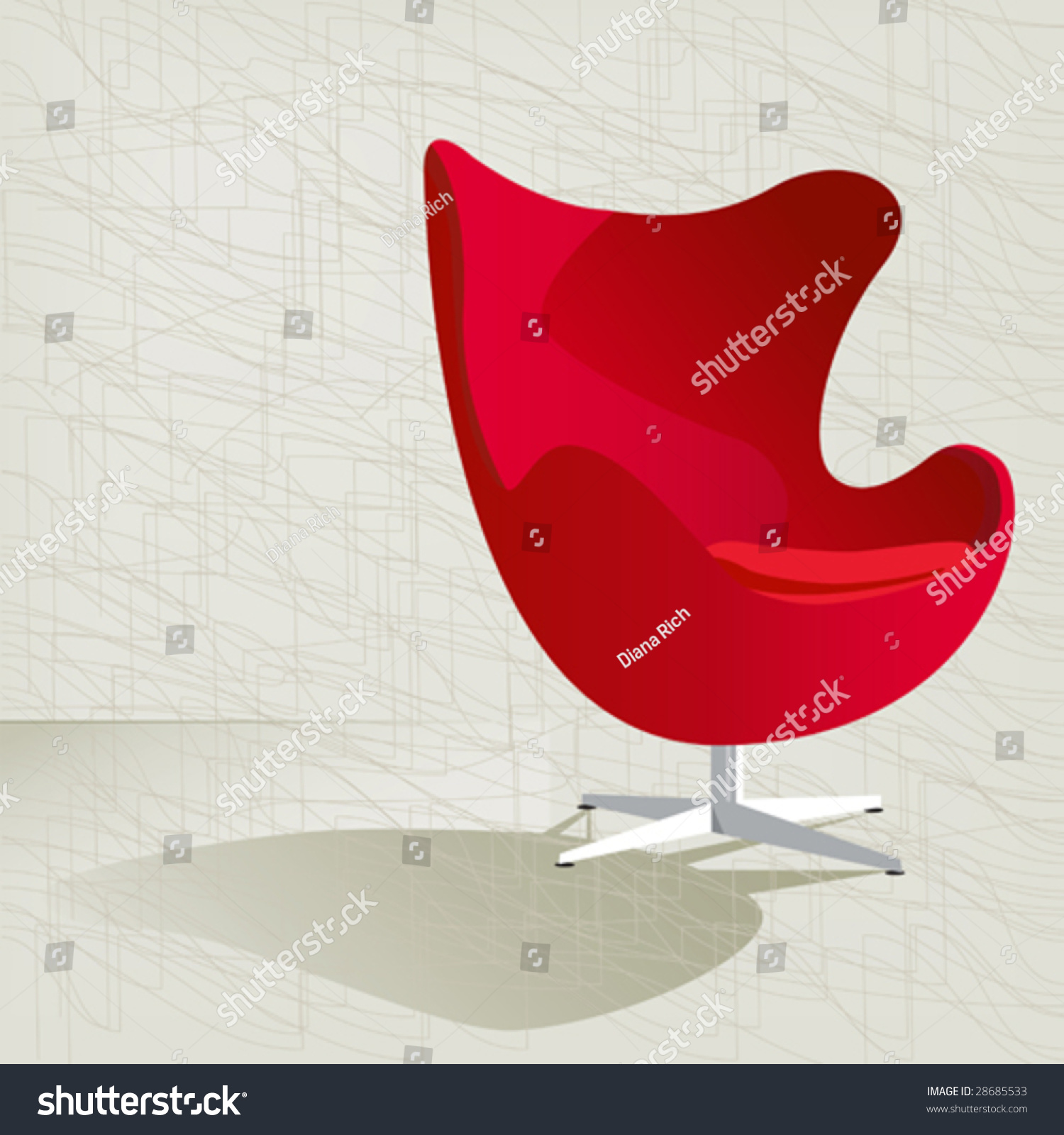 swanky retro red midcentury modern chair with a subtle modern background texture easy