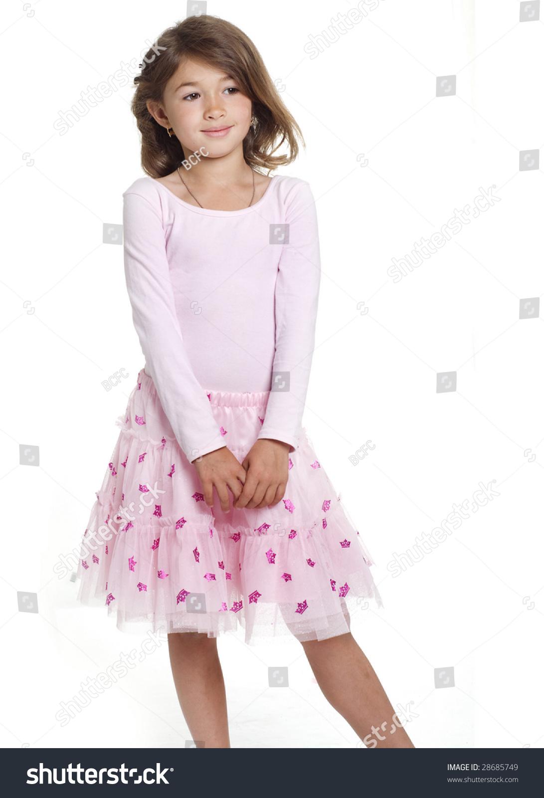 pretty little girl wearing pink skirt stock photo 28685749