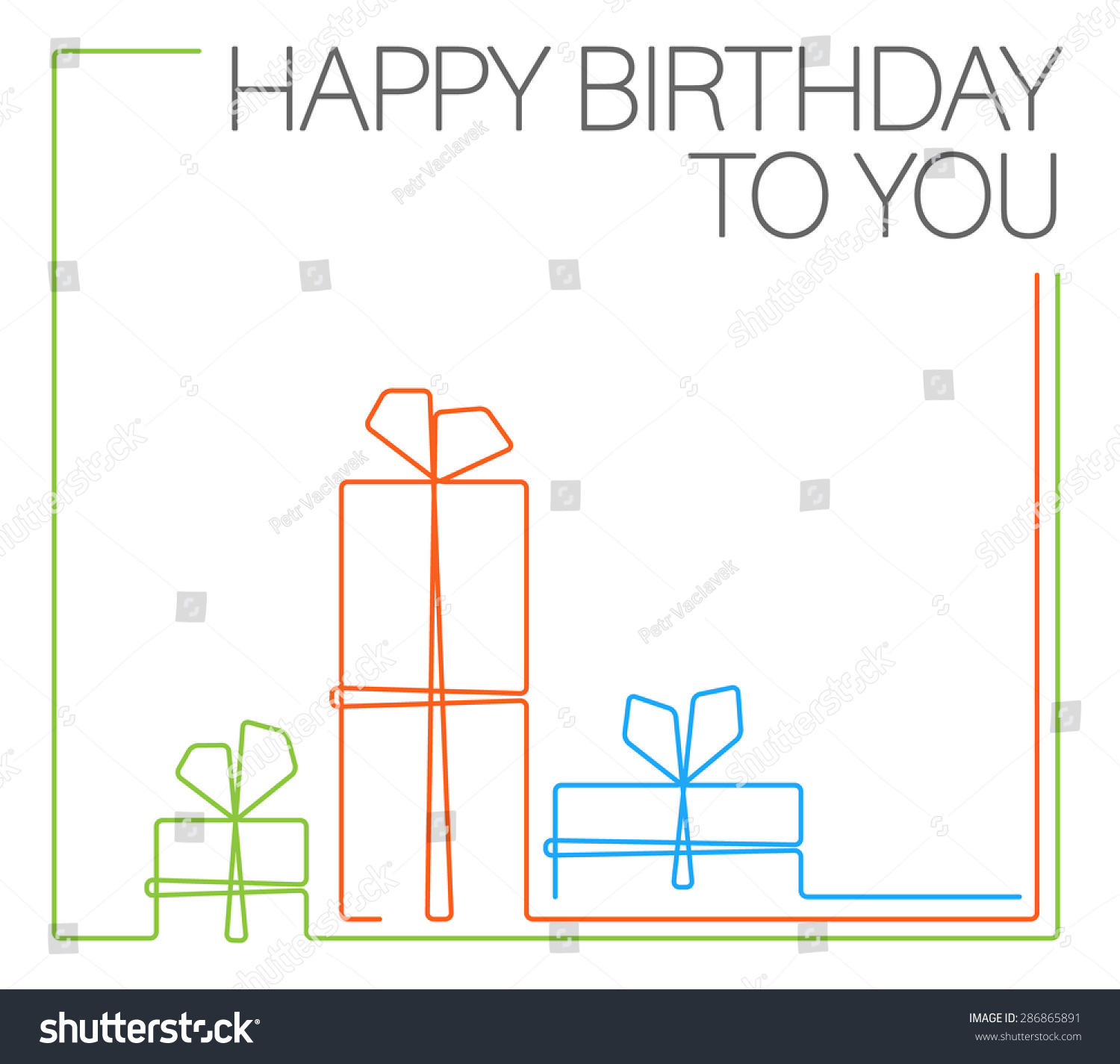 Vector minimalist birthday card template continuous stock for Queue cards template