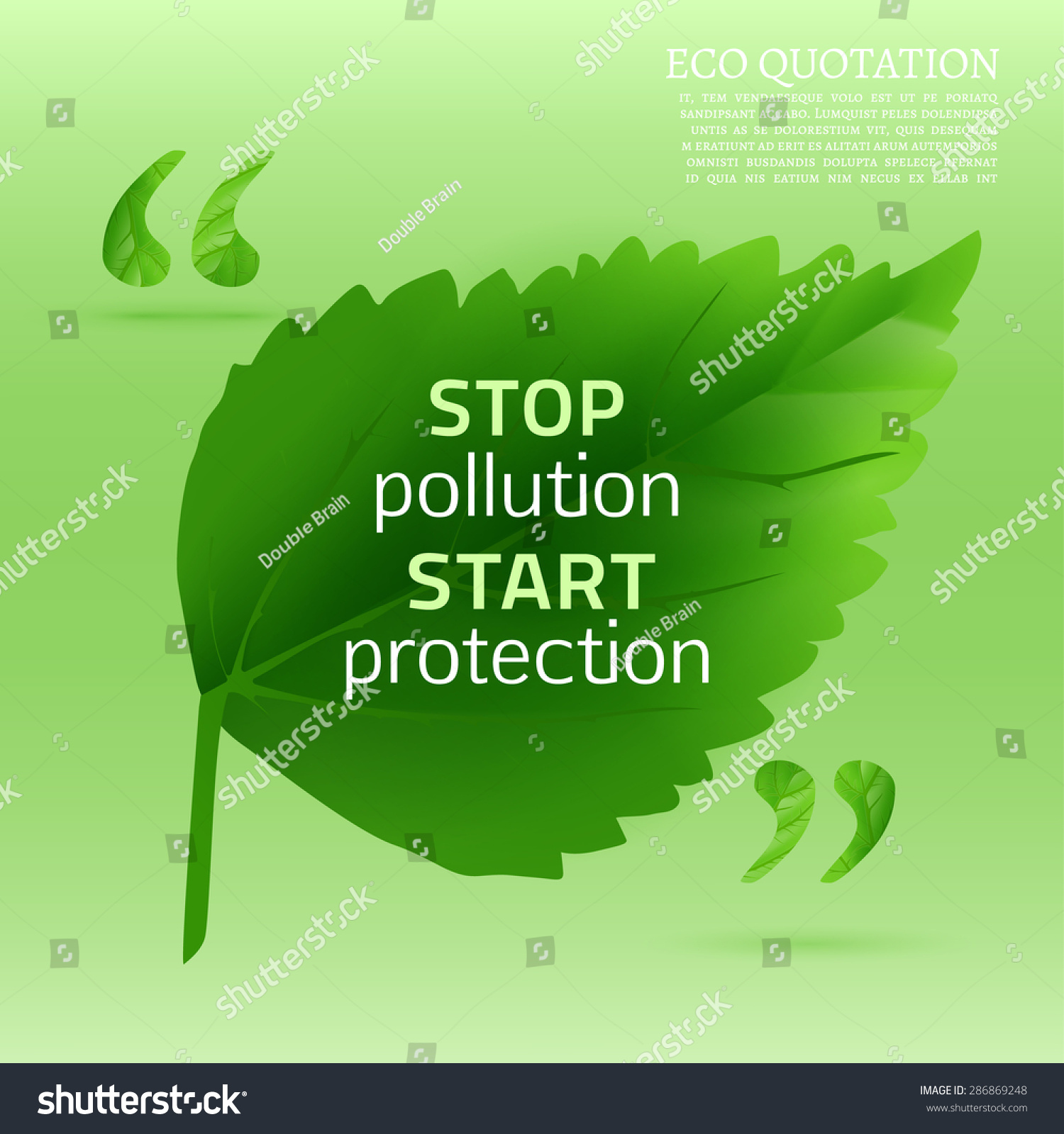 Pollution Quotes Infographic Illustration Beautiful Abstract Bio Background Stock
