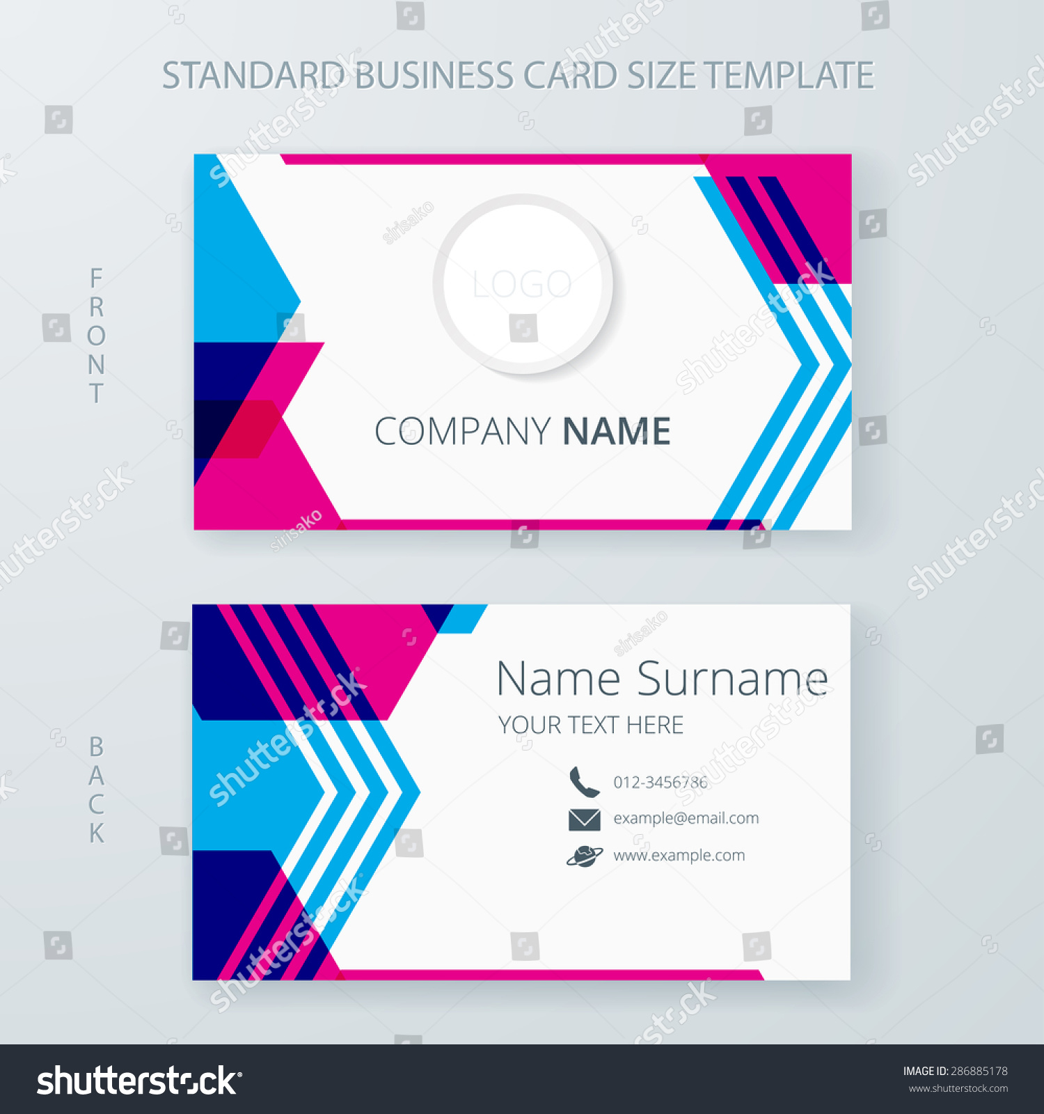 business card name card template modern stock vector 286885178