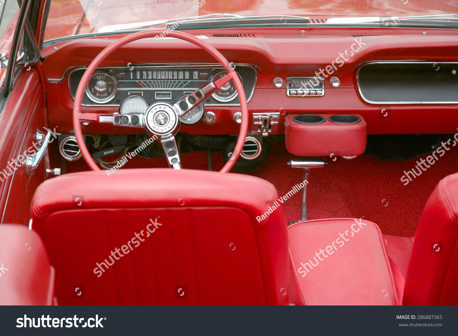 columbus ohio circa june 2015 vintage classic 1965 red ford mustang interior on display the. Black Bedroom Furniture Sets. Home Design Ideas