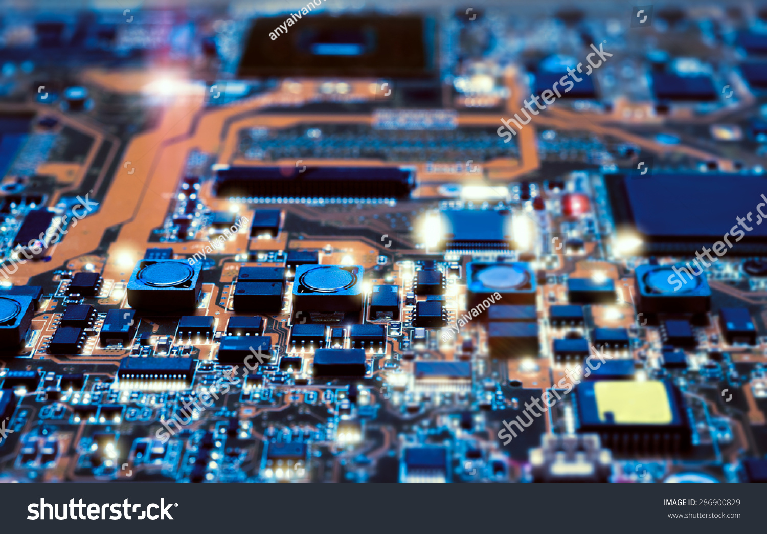 Closeup On Electronic Board Hardware Repair Stock Photo Edit Now Maintenance Tools Fixture Circuit In Shop Blurred And Toned Image Shallow Dof