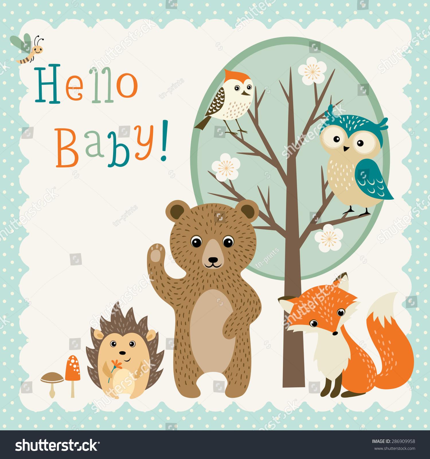 Baby Shower Design Cute Woodland Animals Stock Vector