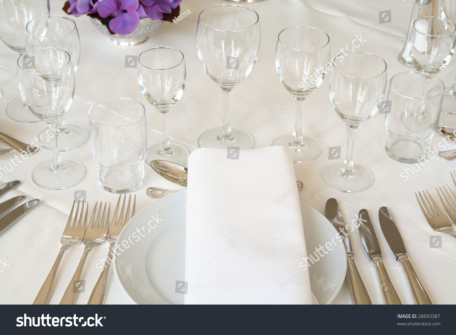 Table Setting For Fine Dining Or Party Cutlery And Plate In Restaurant Set U
