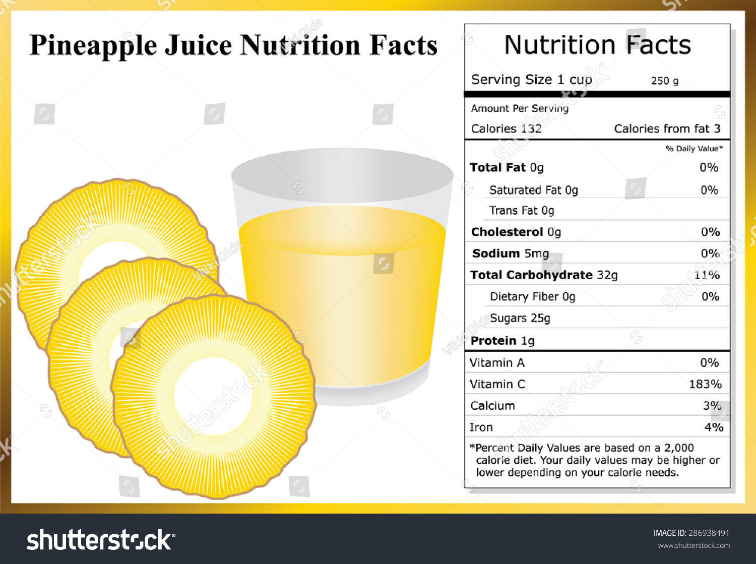 pineapple juice nutrition facts stock vector (royalty free