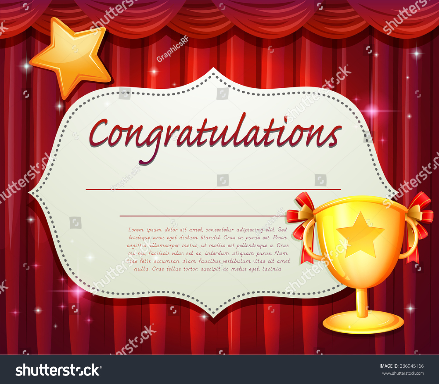 Certificate Red Curtain Trophy Stock Vector 286945166 ...