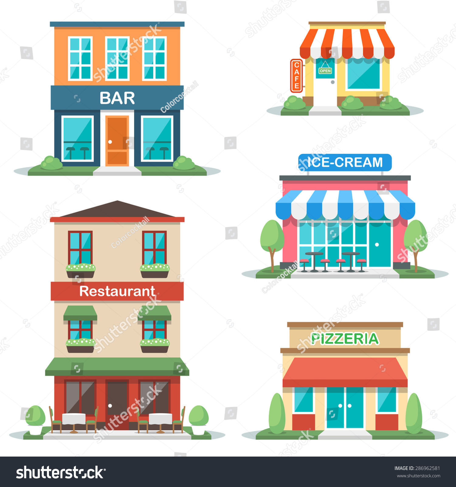 Vector illustration different types cafe buildings stock for Different types of homes to build