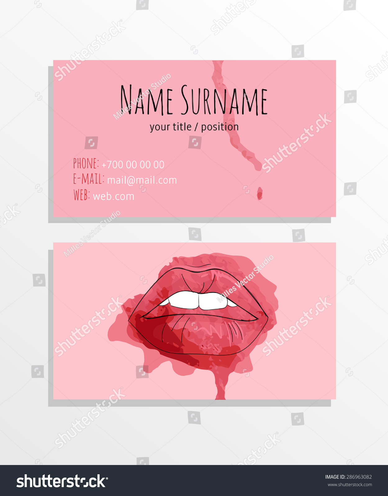Business Card Set Fashion Makeup Concept Stock Vector