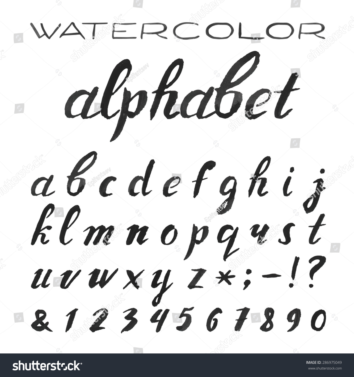 Worksheet Cursive Lettets watercolor alphabet painted vector font handpainted black stock hand cursive letters on the