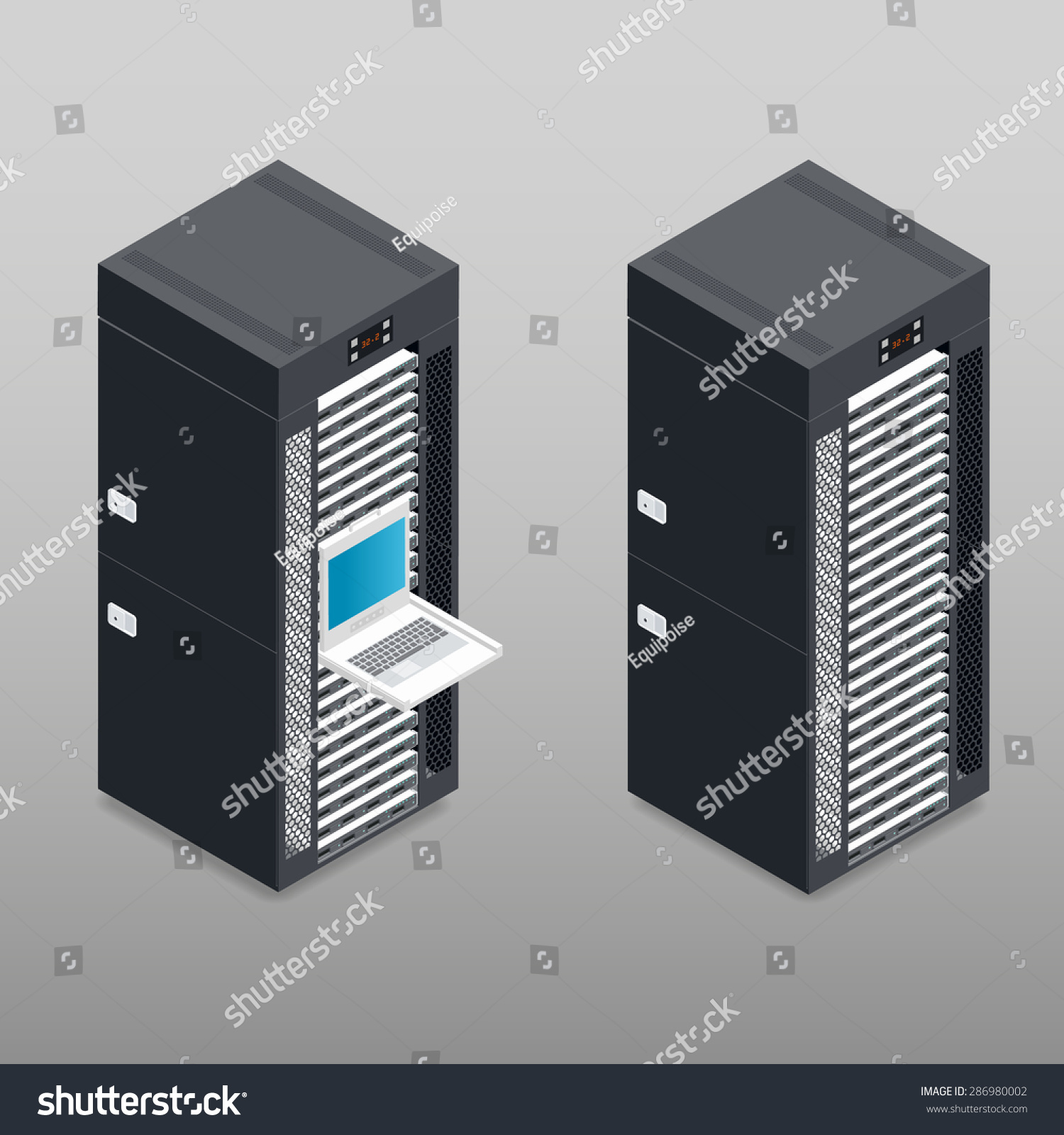 server tower rack detailed isometric icon stock vector (royalty free