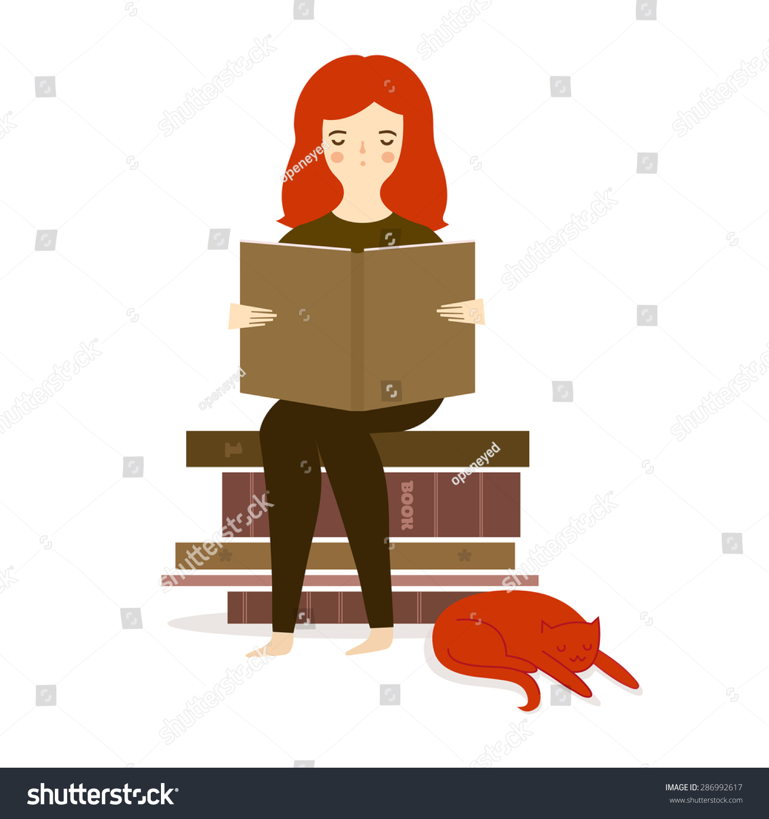 Vector illustration with cute girl reading book with cat