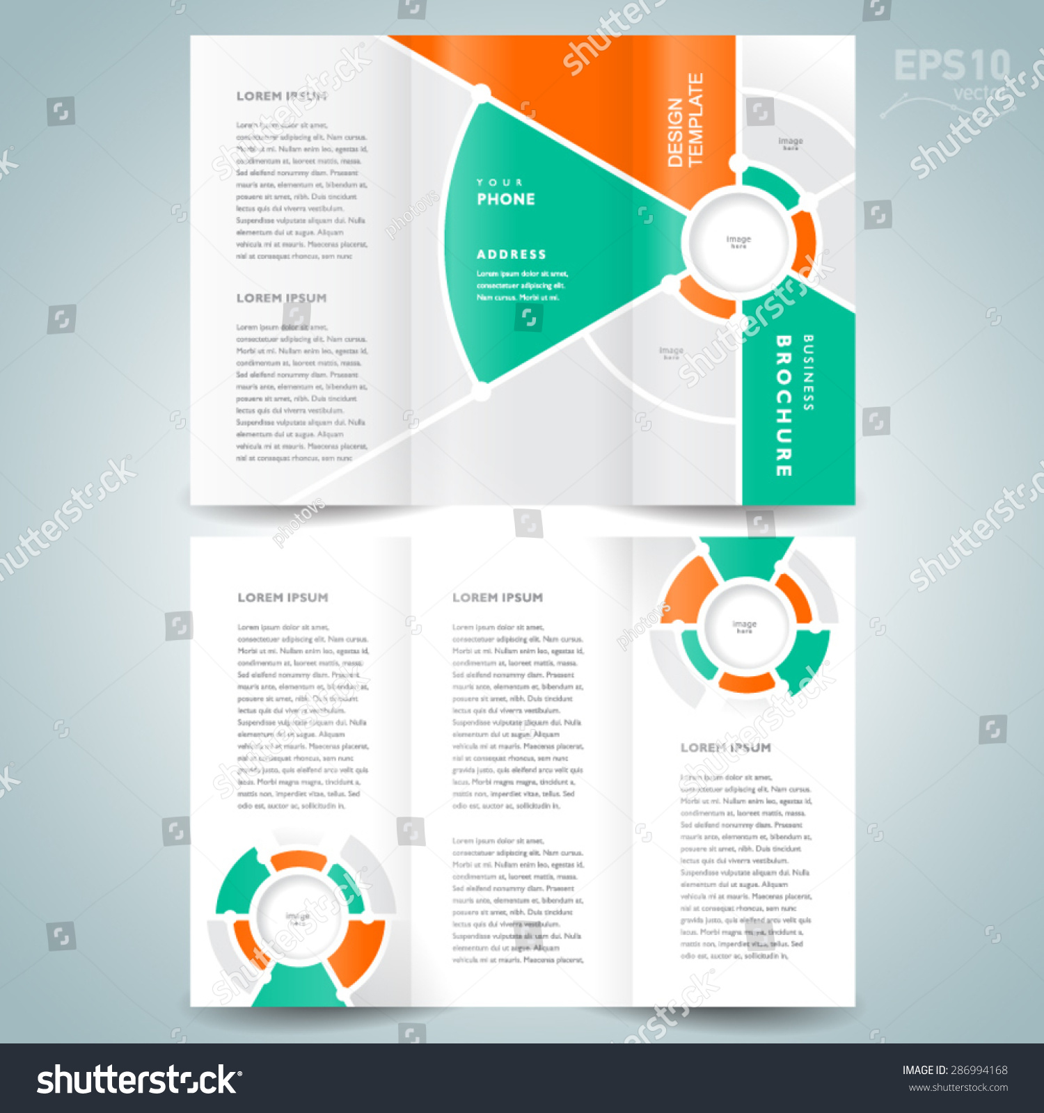 circle brochure template - brochure design template vector trifold geometric stock