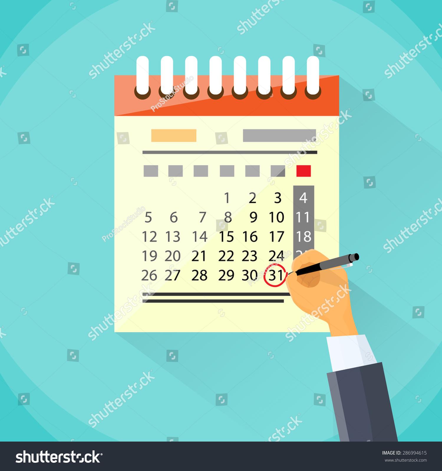Calendar Drawing Cartoon : Calendar hand draw pen red circle stock vector