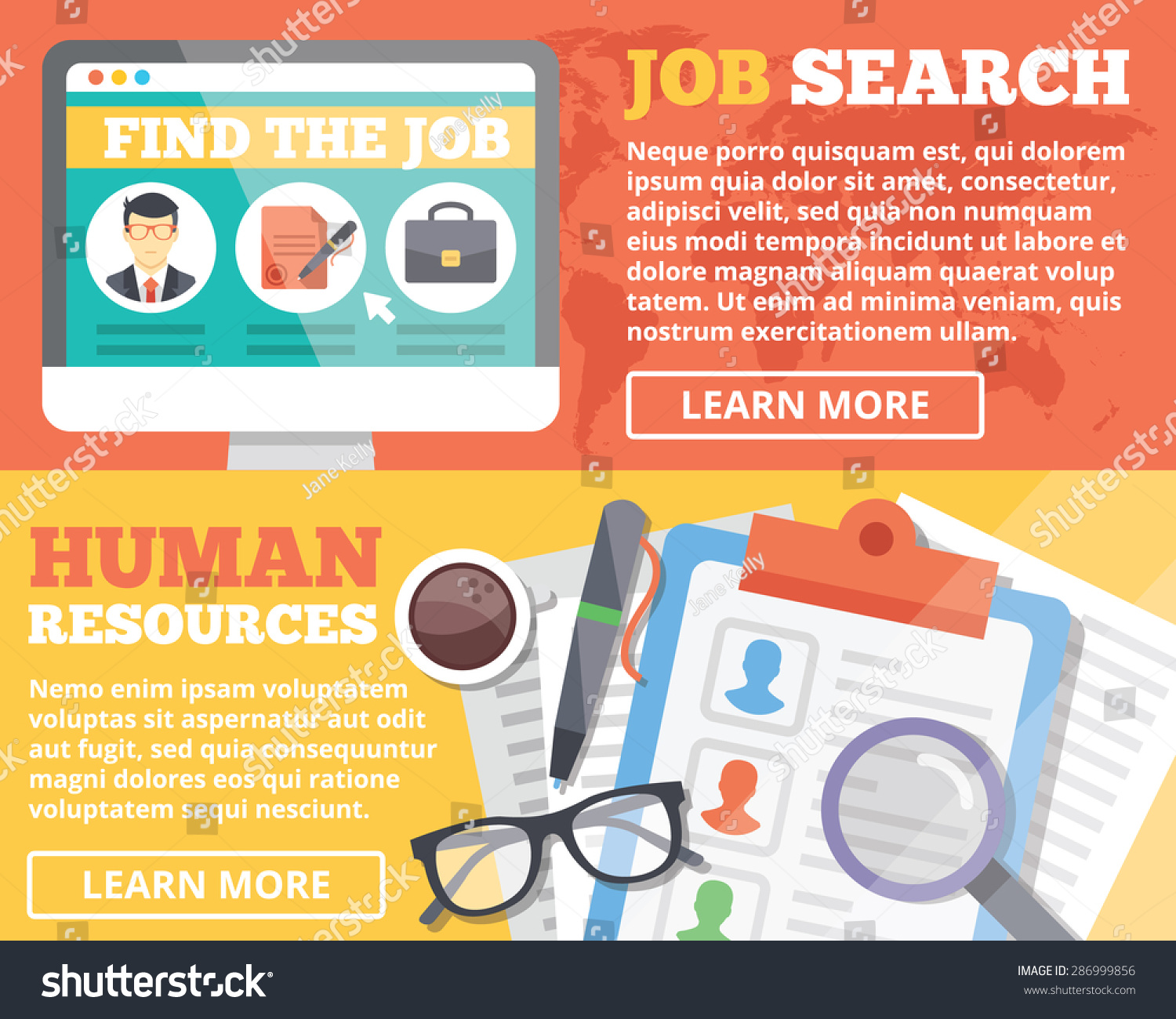 job search human resources flat illustration stock vector job search and human resources flat illustration concepts set flat design concepts for web banners