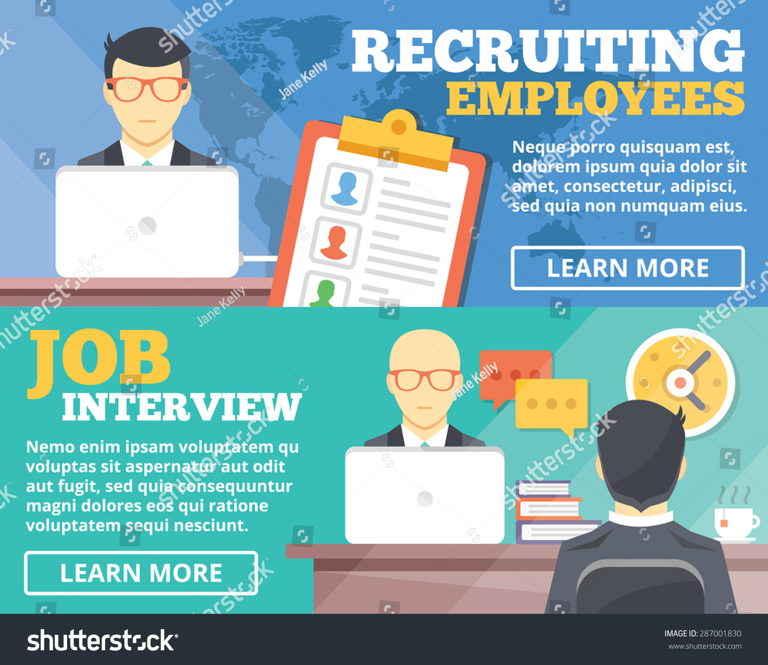 recruiting employees job interview flat illustration stock vector recruiting employees job interview flat illustration concepts set flat design concepts for web banners