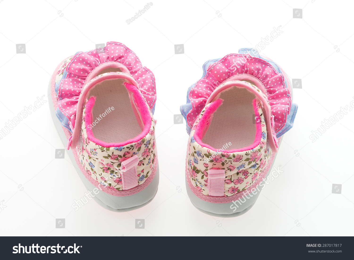 Baby Girl Flower Shoes Isolated On White Background Ez Canvas