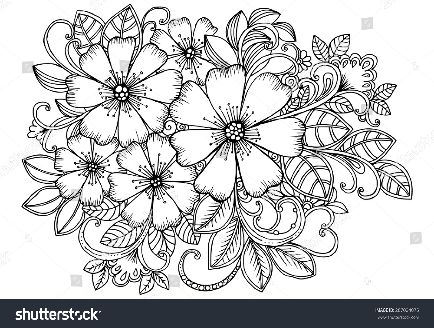 Beautiful Bouquet Flowers Black White Colorbook Stock Vector