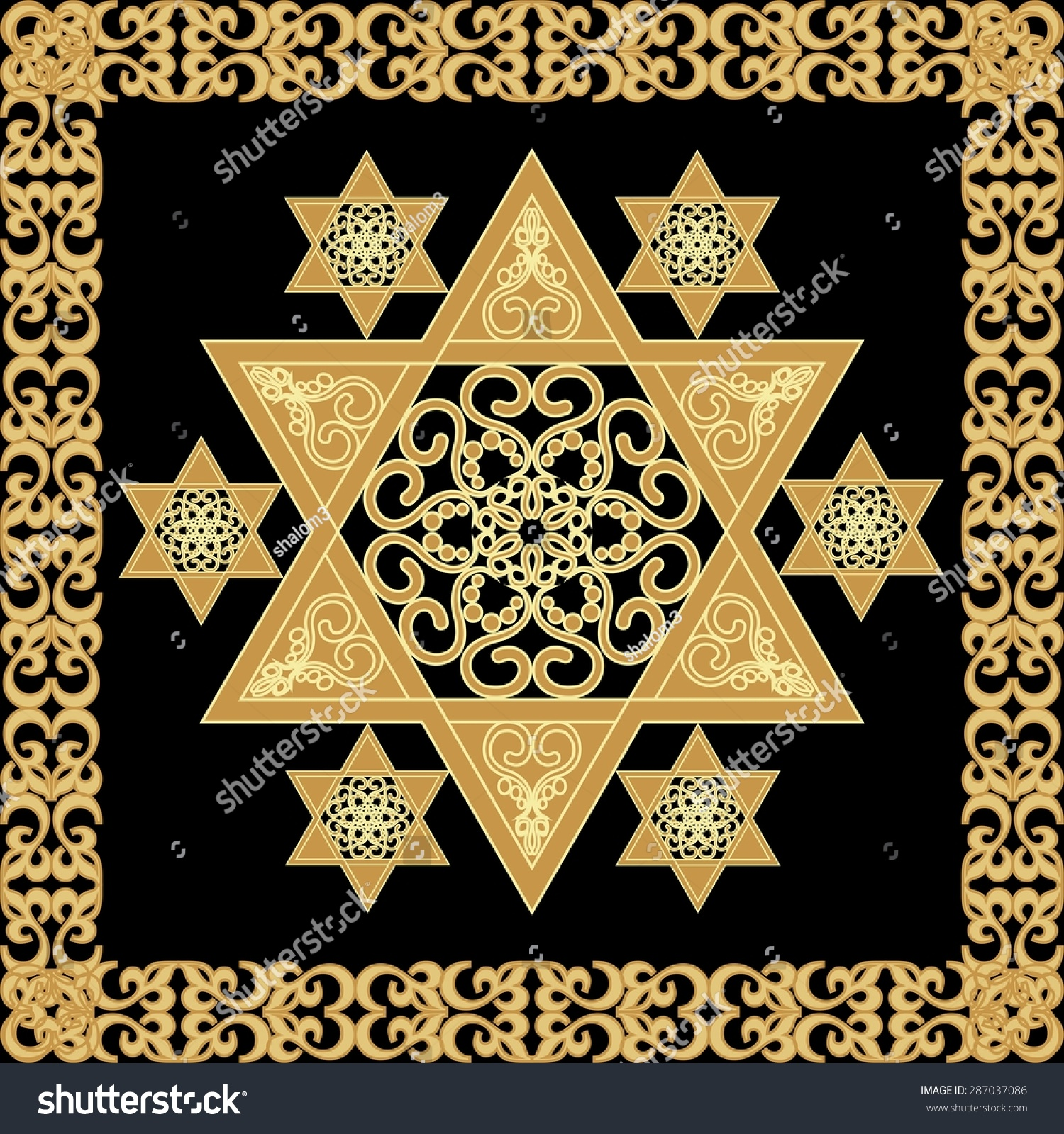 Star david decoration tile geometric vintage stock vector star of david decoration tile with geometric vintage yew ornament in gold design israel national biocorpaavc Choice Image