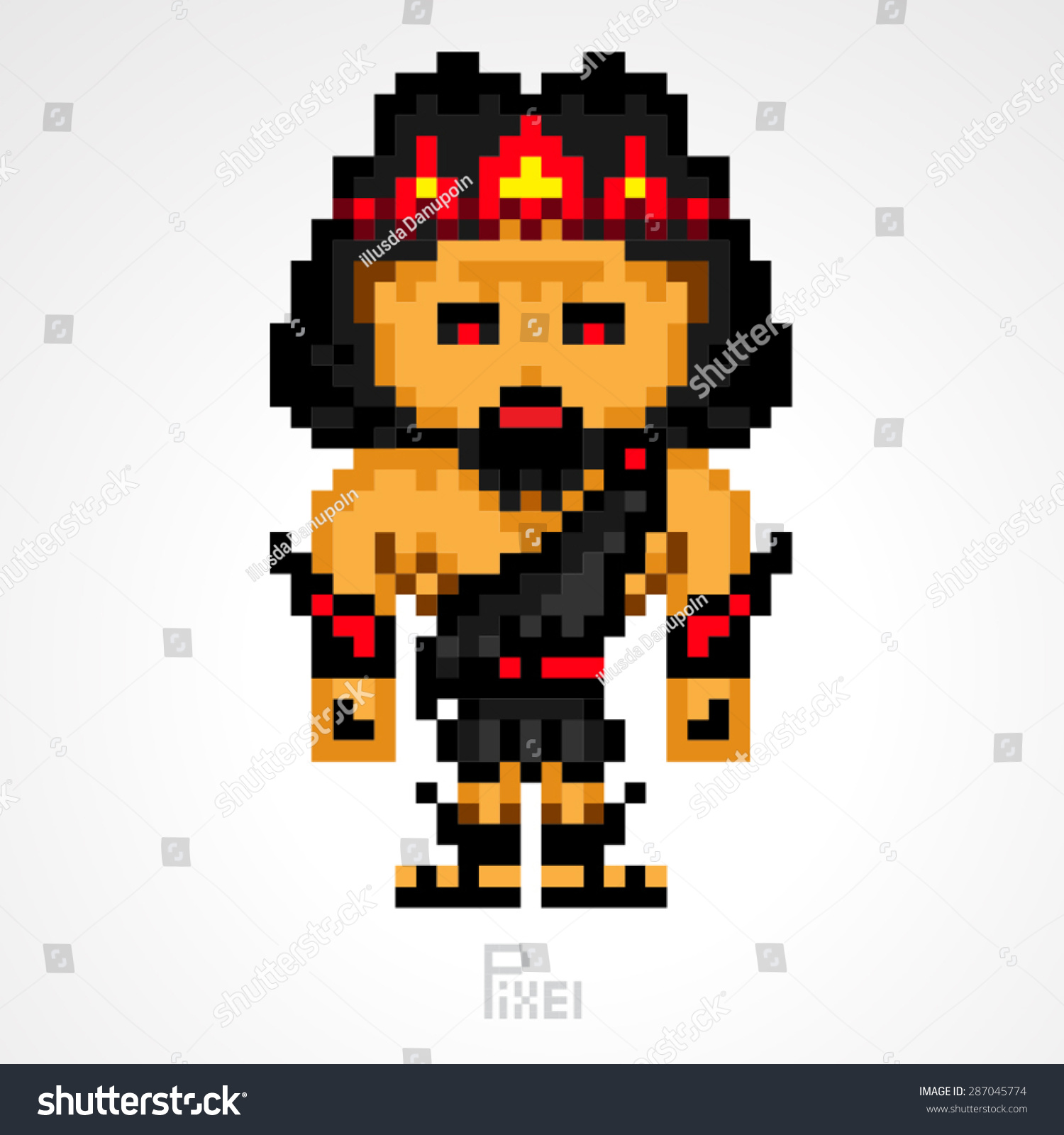 Pixel Character Hades Greek Mythology Gods Stock Vector Royalty