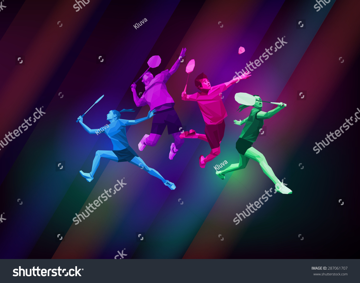 More About Music Poster Background High Resolution Update: Sports Poster Badminton Players Team Colorful Stock Vector
