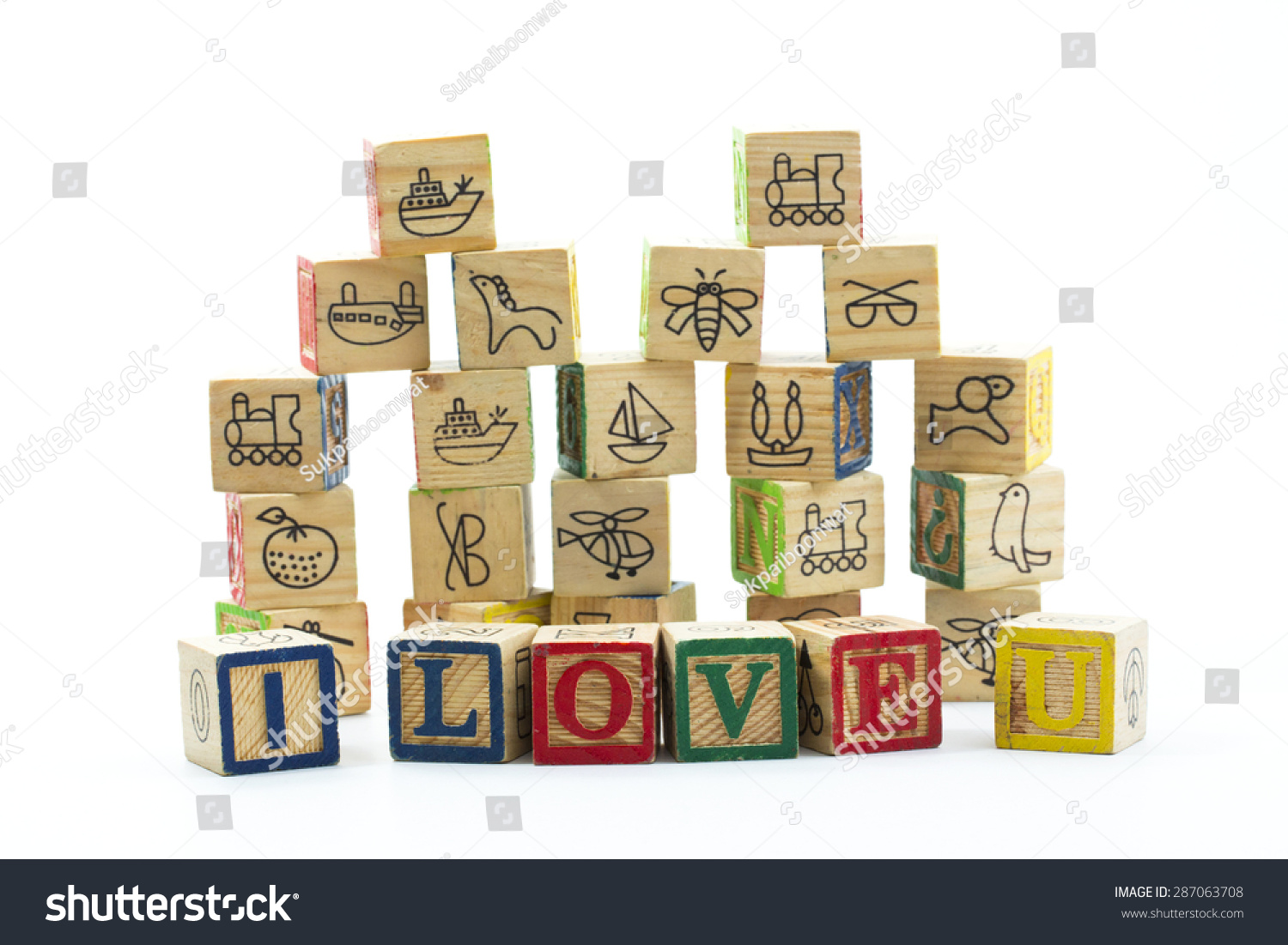 Wooden Toy Blocks Spelling I Love You Stock Photo 287063708