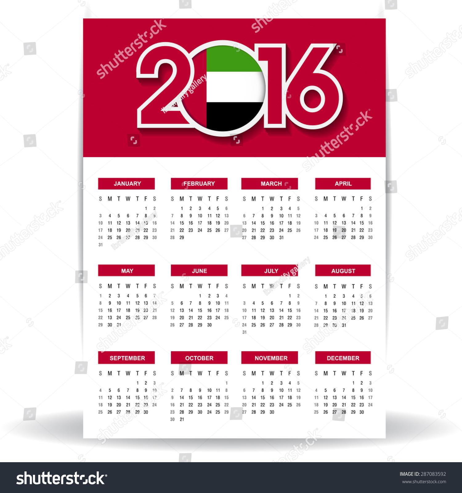 Calendar Uae : Calendar united arab emirates uae stock vector