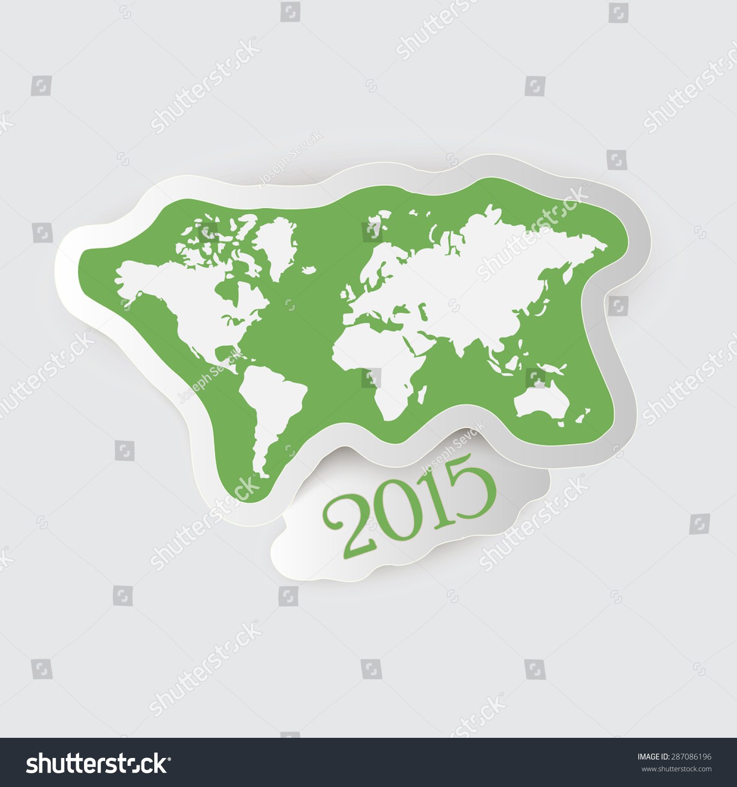 Paper Label World Map Year Stock Vector Shutterstock - World map to label