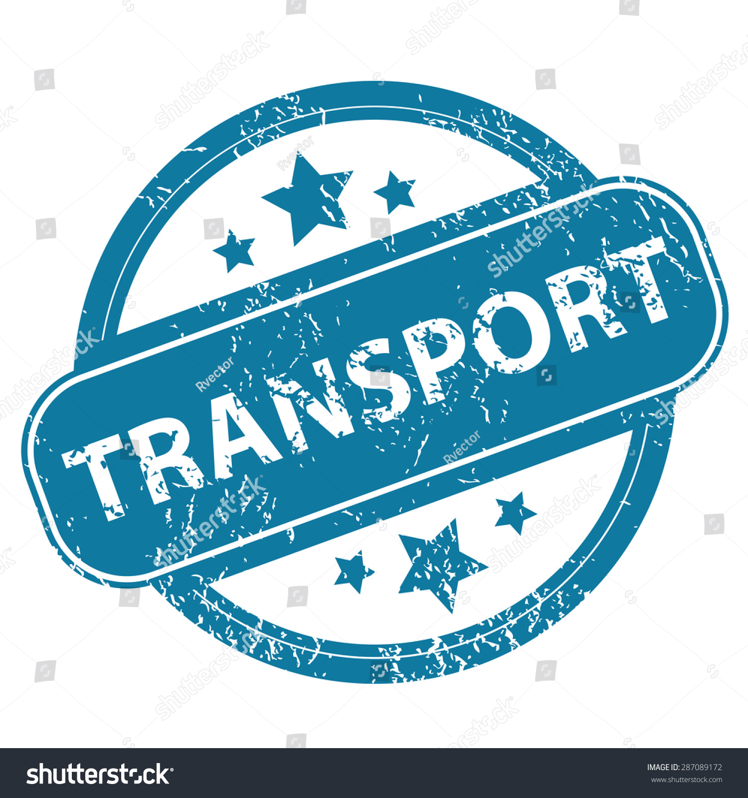Round Rubber Stamp Word Transport Stars Stock Illustration