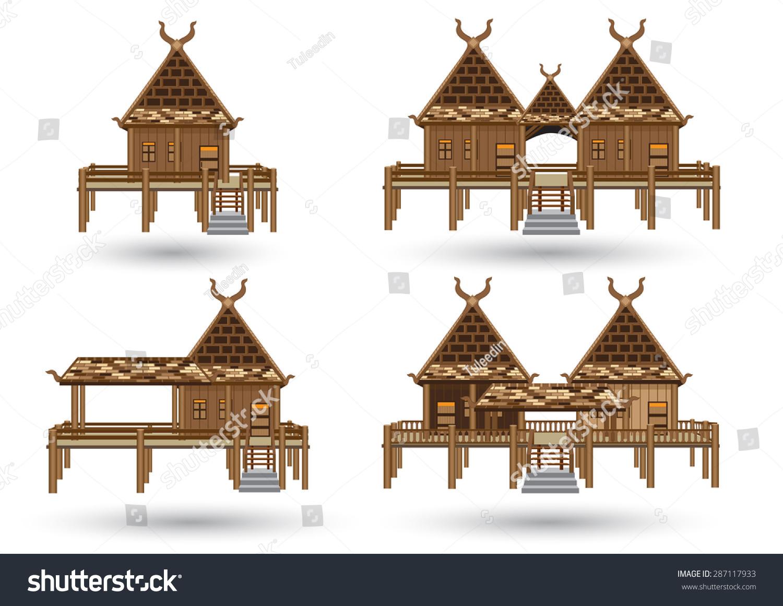 House Northern Thailand Thai House Style Vector Central Stock Vector ...