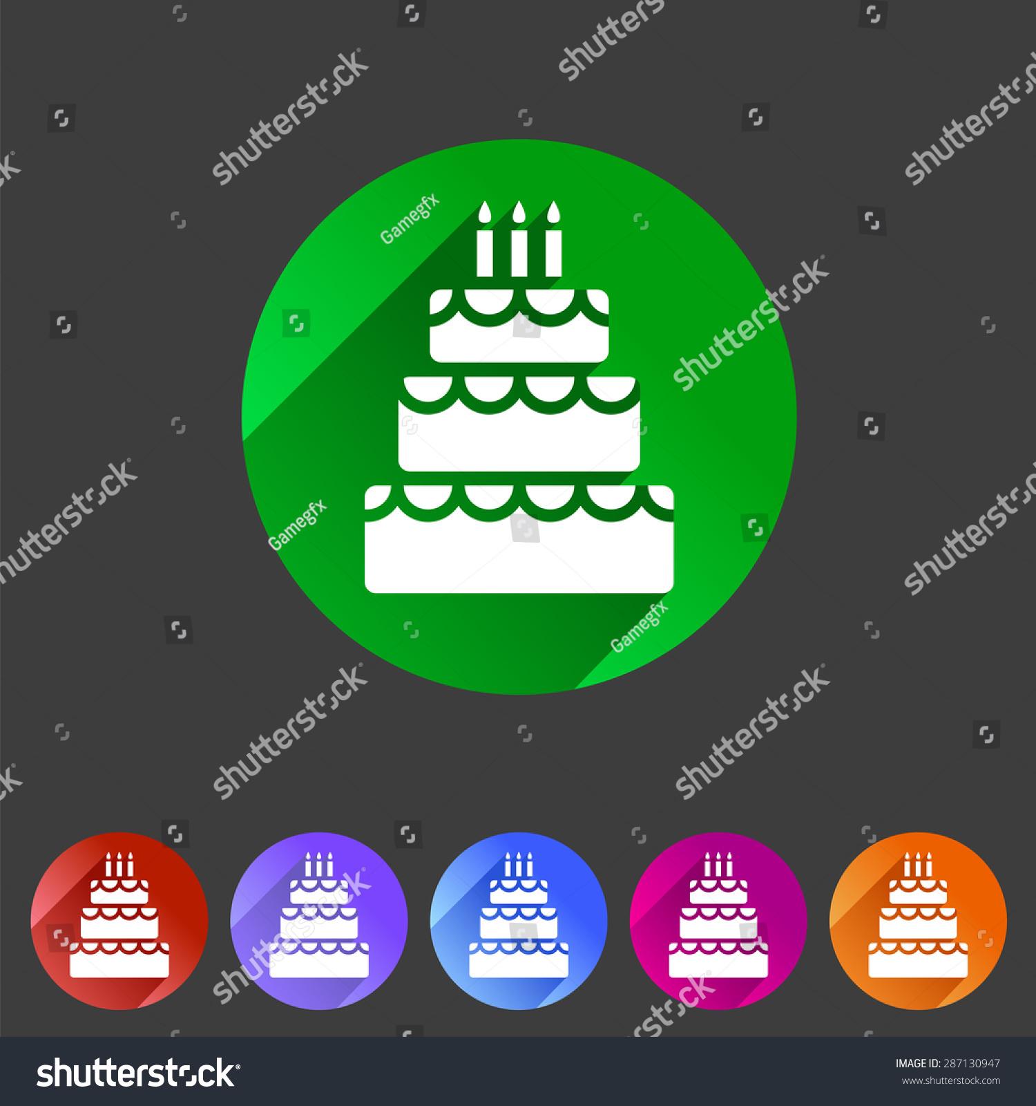 Birthday Cake Flat Icon Sign Symbol Stock Vector 287130947