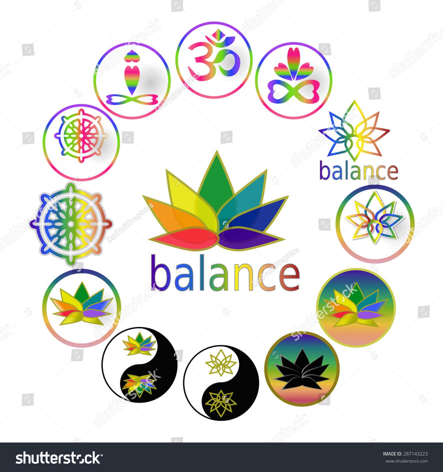 Zen Buddhist Symbols And Meanings: Spiritual Harmony Balance Icons Yoga Symbols Stock Vector