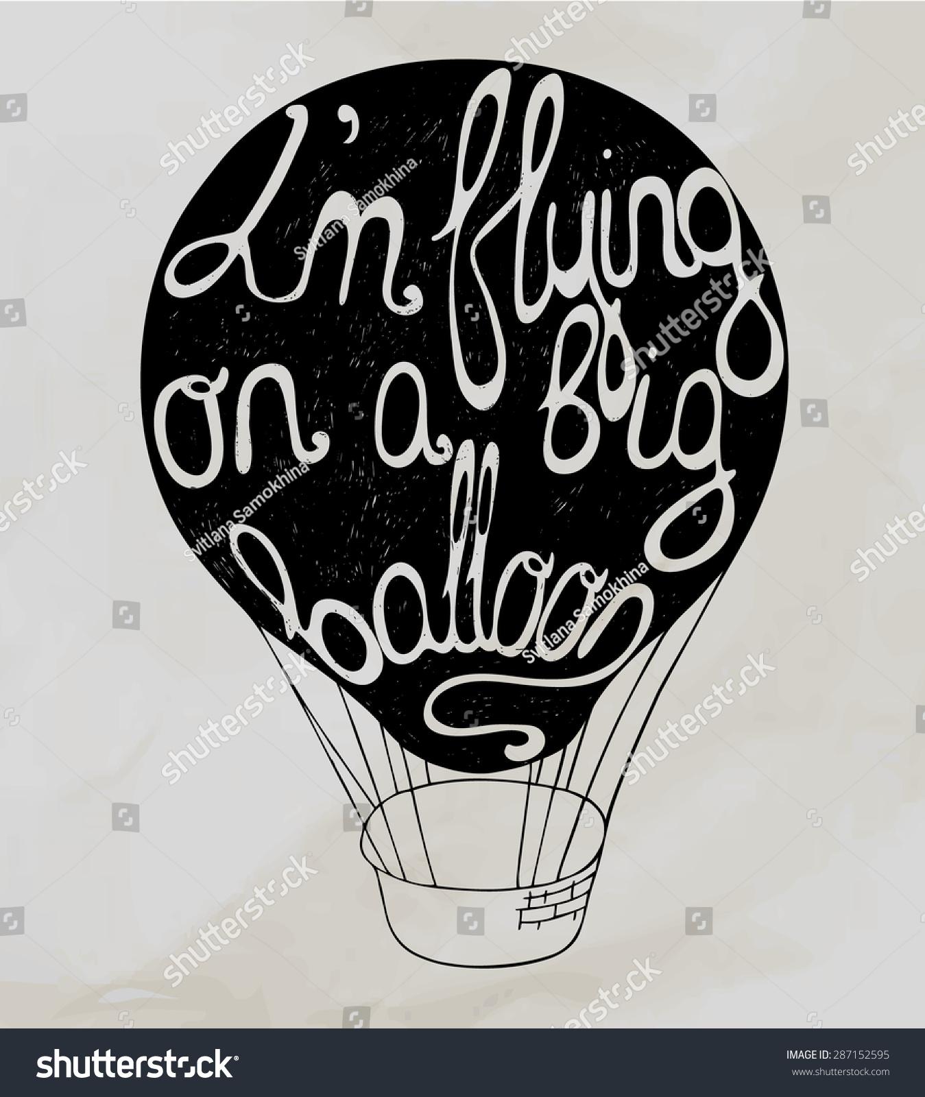 Retro Hot Air Balloon Sky On Stock Vector 287152595 - Shutterstock