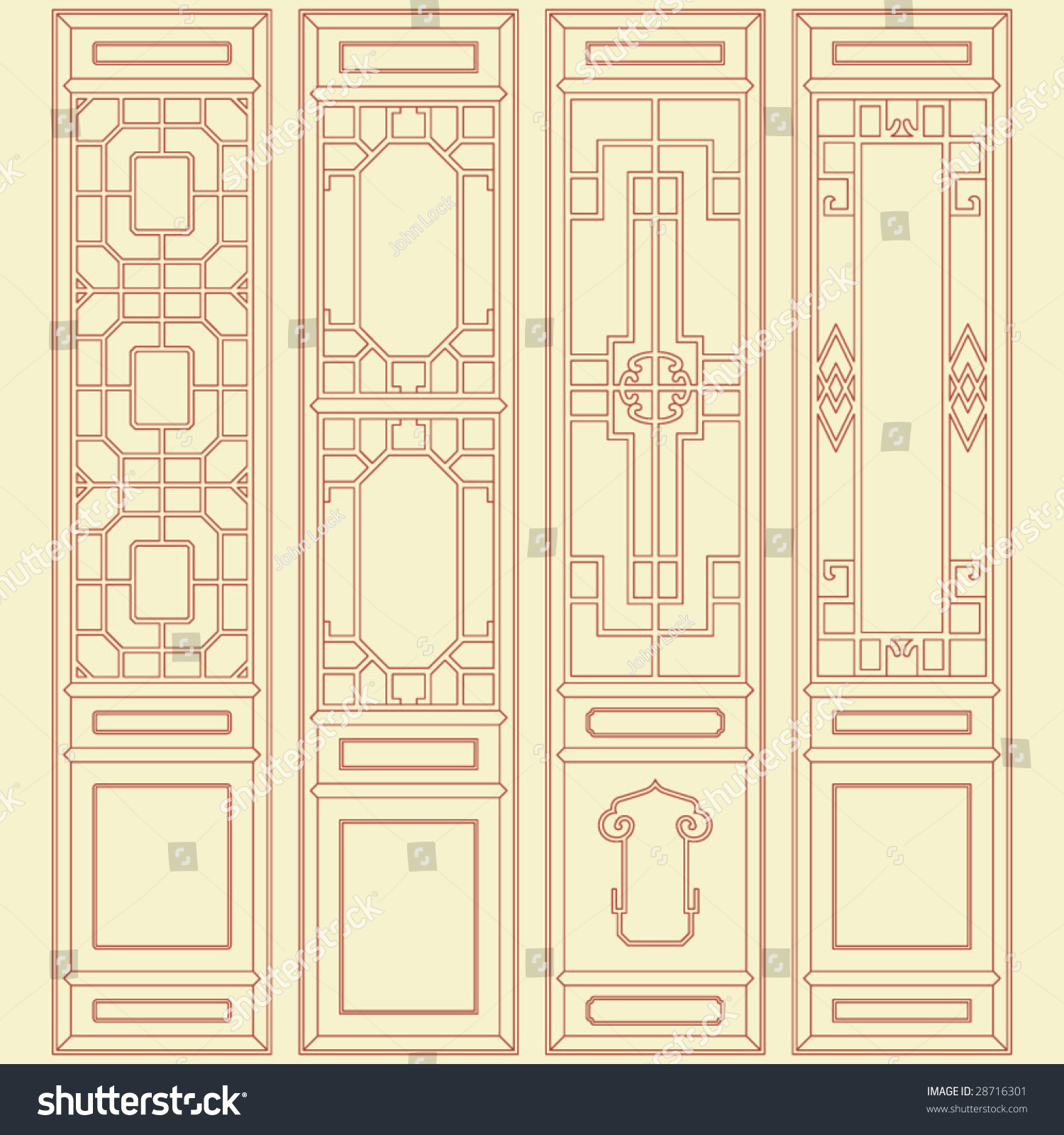 Vector traditional chinese classic window door stock for Design patterns of doors