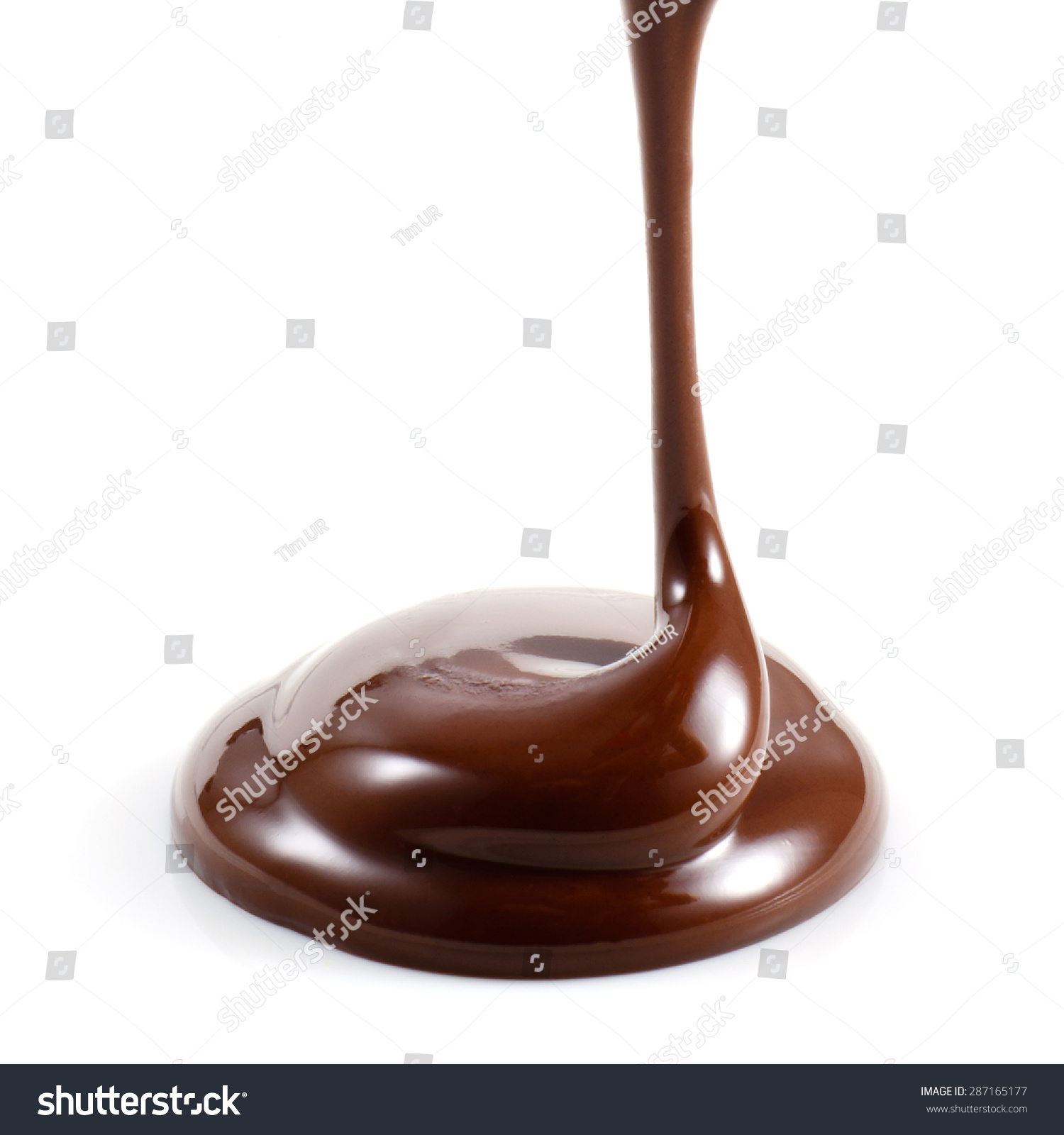 hot melted chocolate isolated on white stock photo