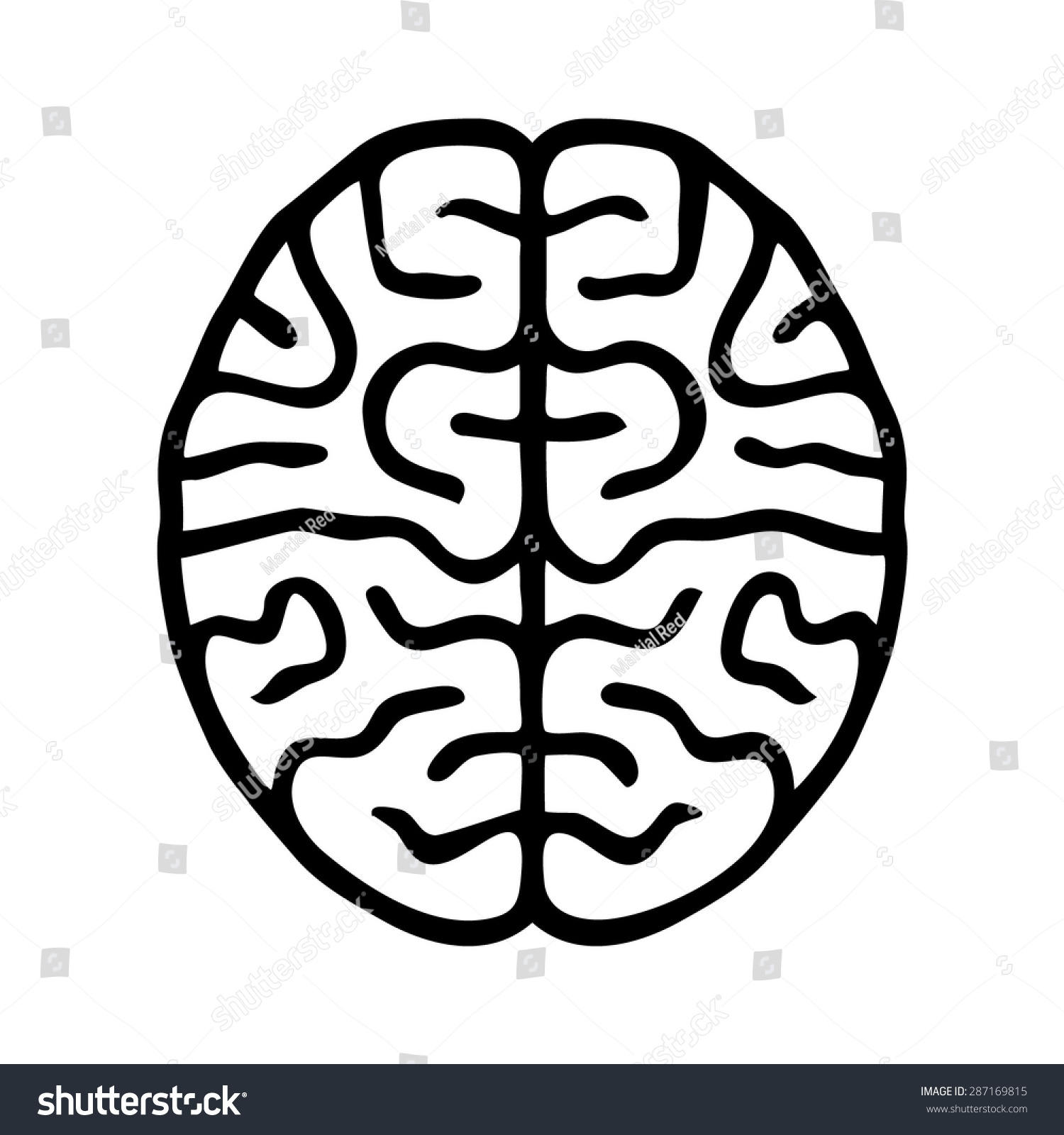 Line Art Icons : Human brain line art icon app stock vector