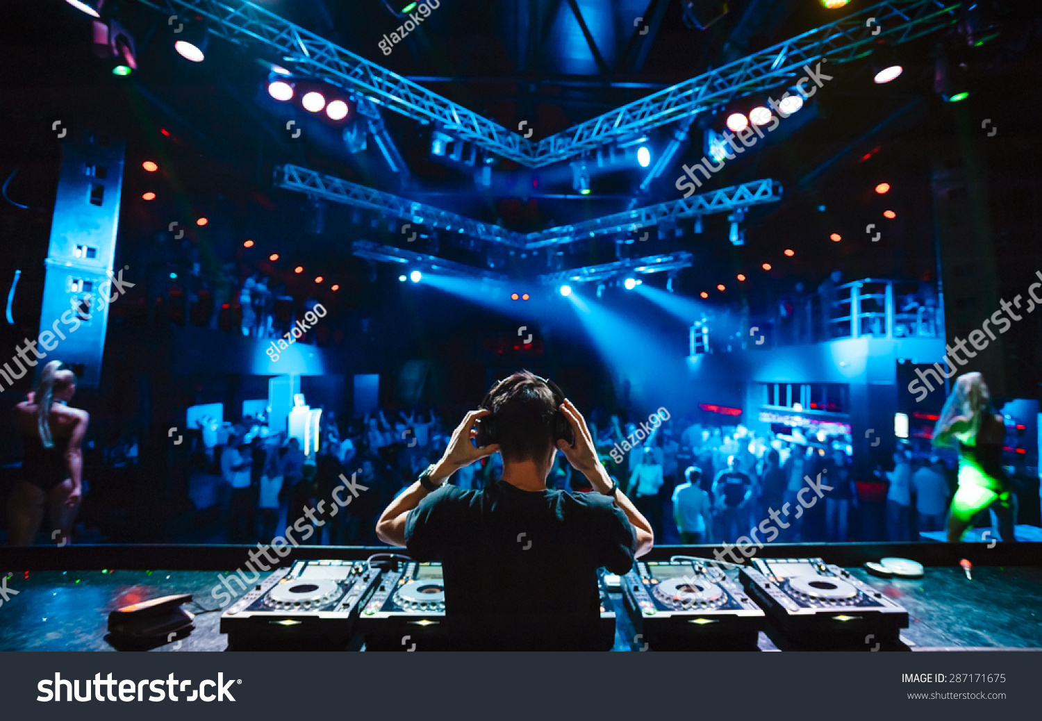 Dj Headphones Night Club Party Under Stock Photo 287171675