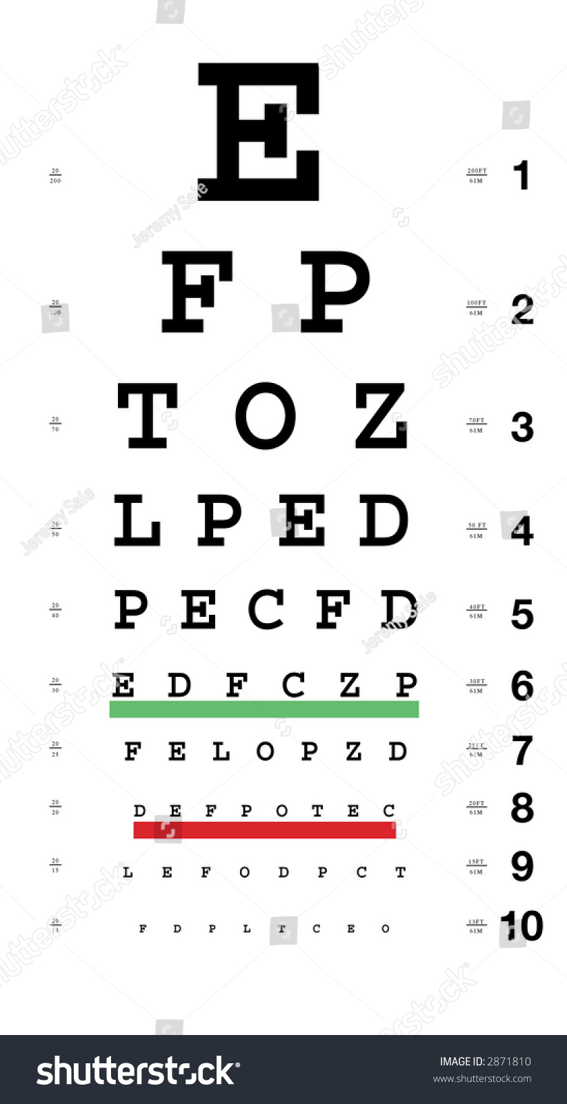 Standard Eye Chart Distance Markers Stock Illustration 2871810