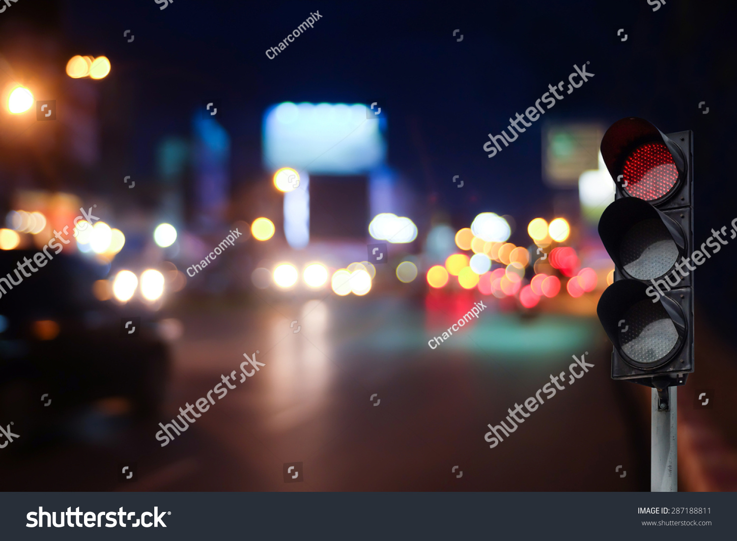 Red Traffic Light On Road Night Stock Photo 287188811 - Shutterstock for Traffic Light On Road At Night  177nar