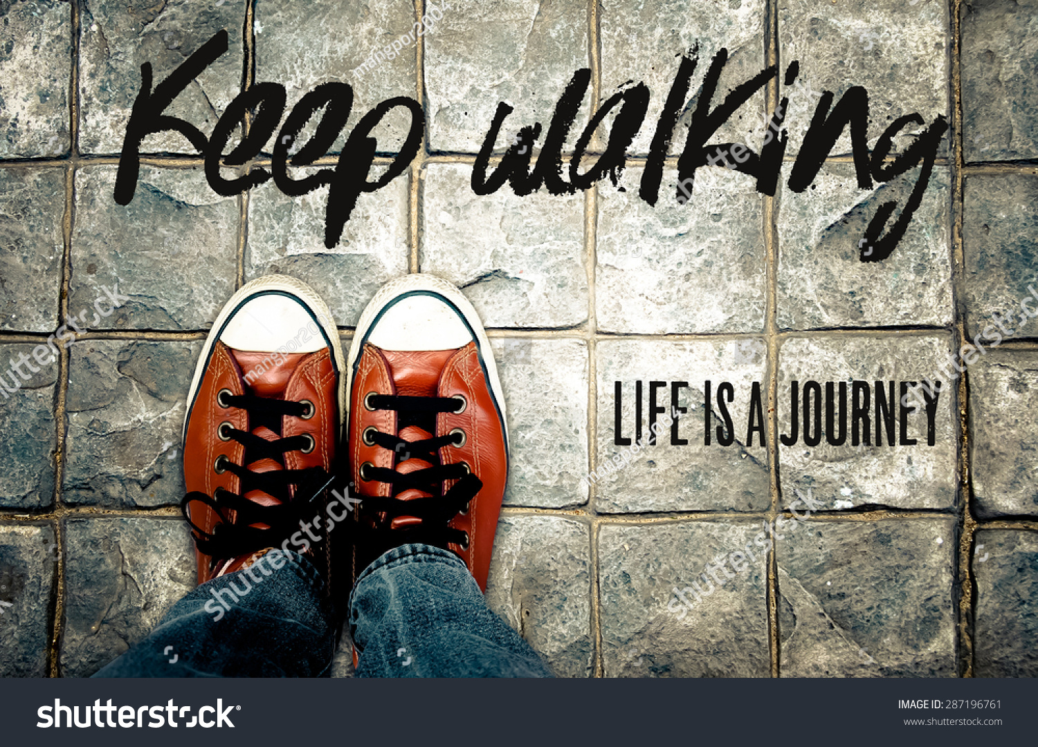 Inspirational Quotes About Lifes Journey Amazing Keep Walking Life Journey Inspiration Quote Stock Photo 287196761