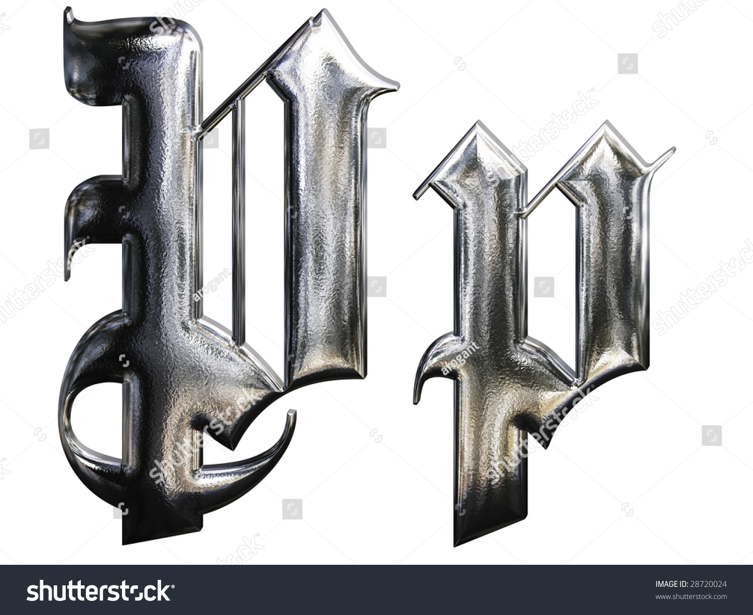 Metallic Patterned Letter German Gothic Alphabet Stock Illustration 28720024