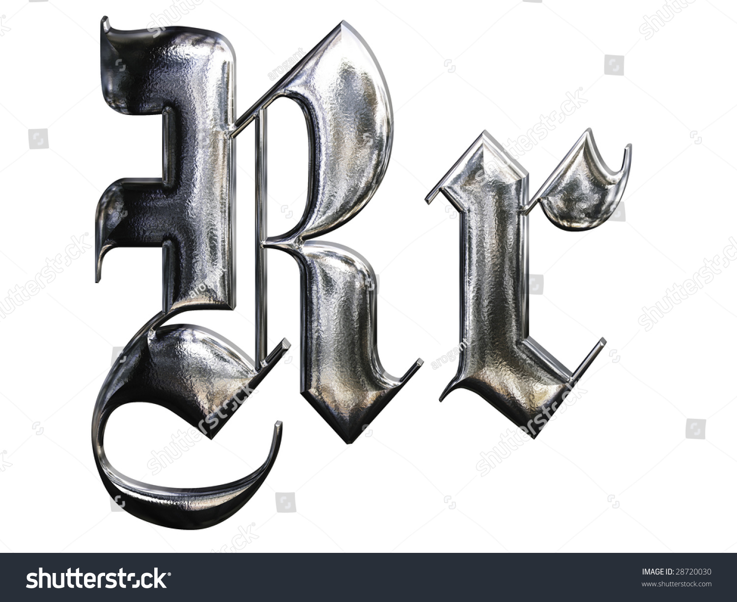 Metallic patterned letter german gothic alphabet stock