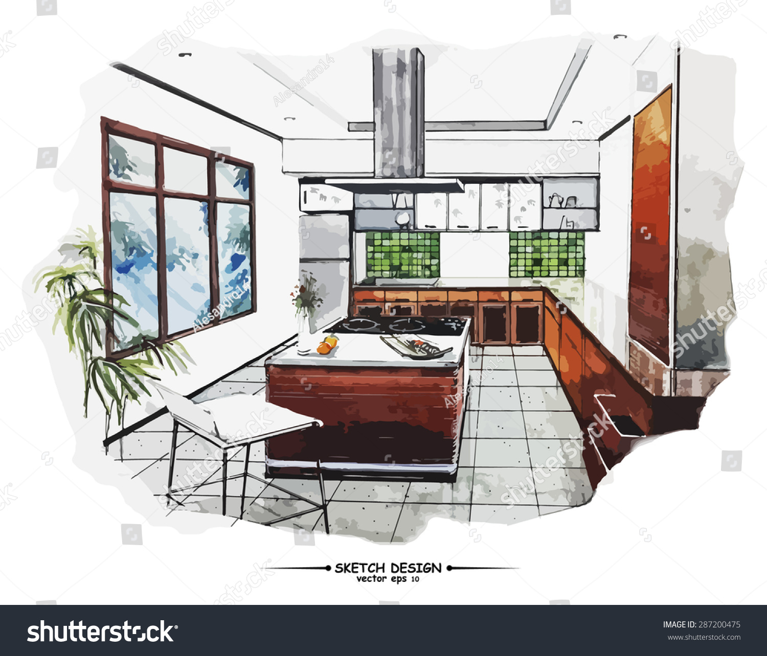 Vector interior sketch design watercolor sketching idea for How to draw interior designs
