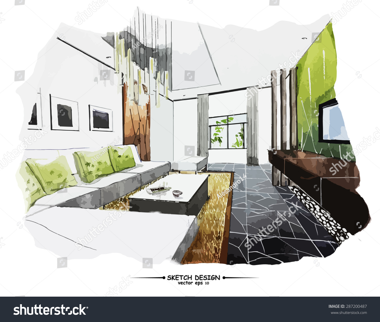 Vector Interior Sketch Design Watercolor Sketching Idea On White